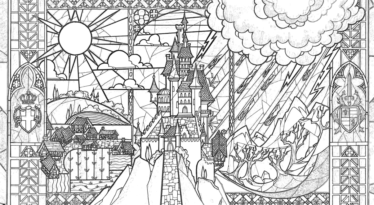 Beauty Beast Castle Coloring Page