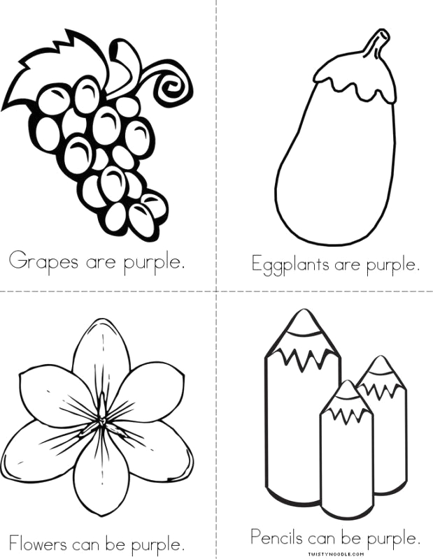 free printable preschool coloring pages things that are purple