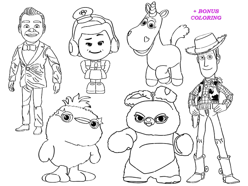 Toy Story 4 All Characters Coloring Pages toy Story 4 Coloring Pages Benson Sheapeterson