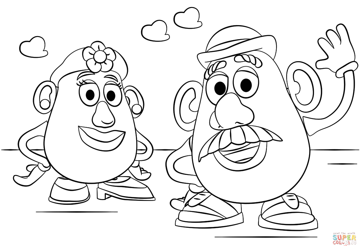 Toy Story Mr and Mrs Potato Head Coloring Pages Mr and Mrs Potato Head Coloring Page