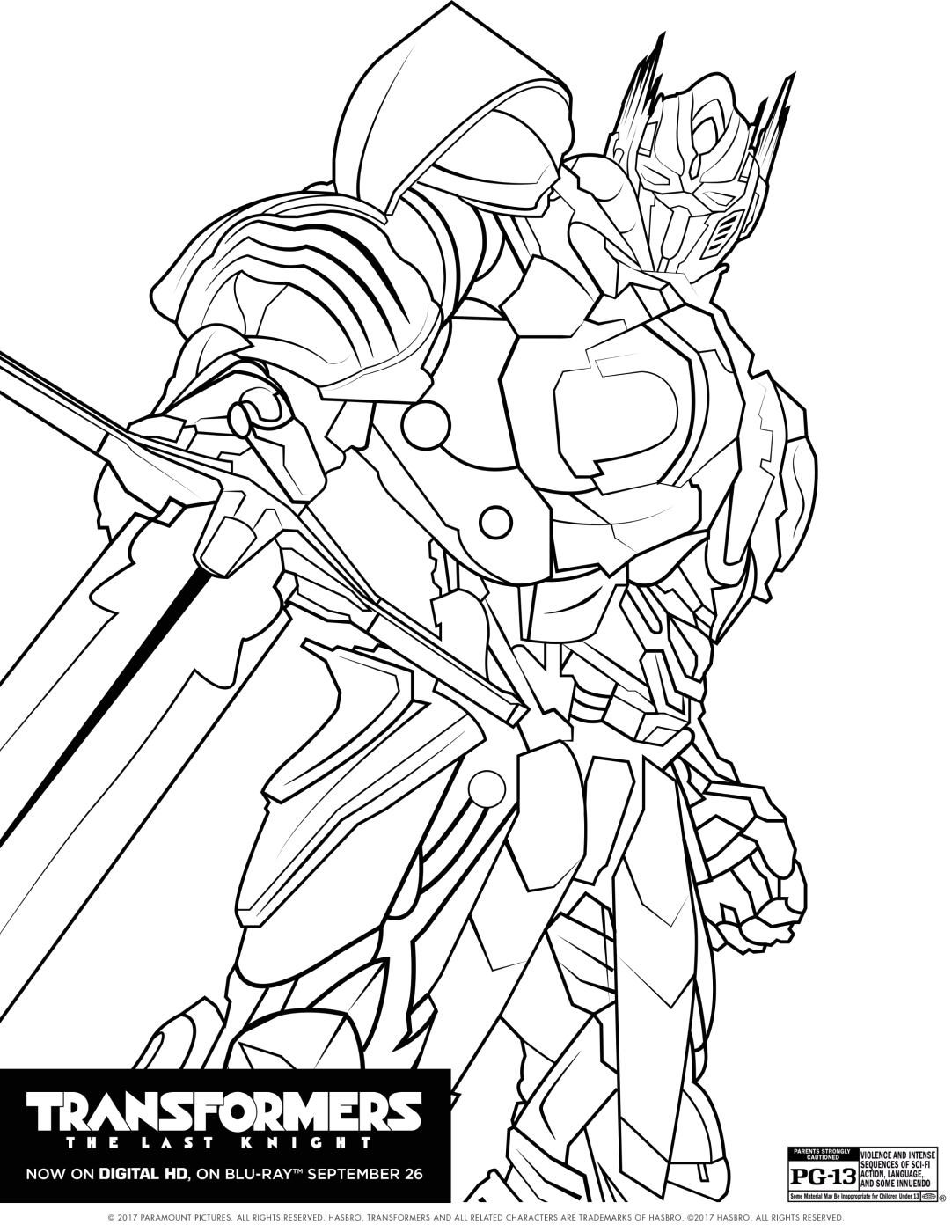 Transformers the Last Knight Optimus Prime Coloring Pages Transformers the Last Knight Coloring Pages