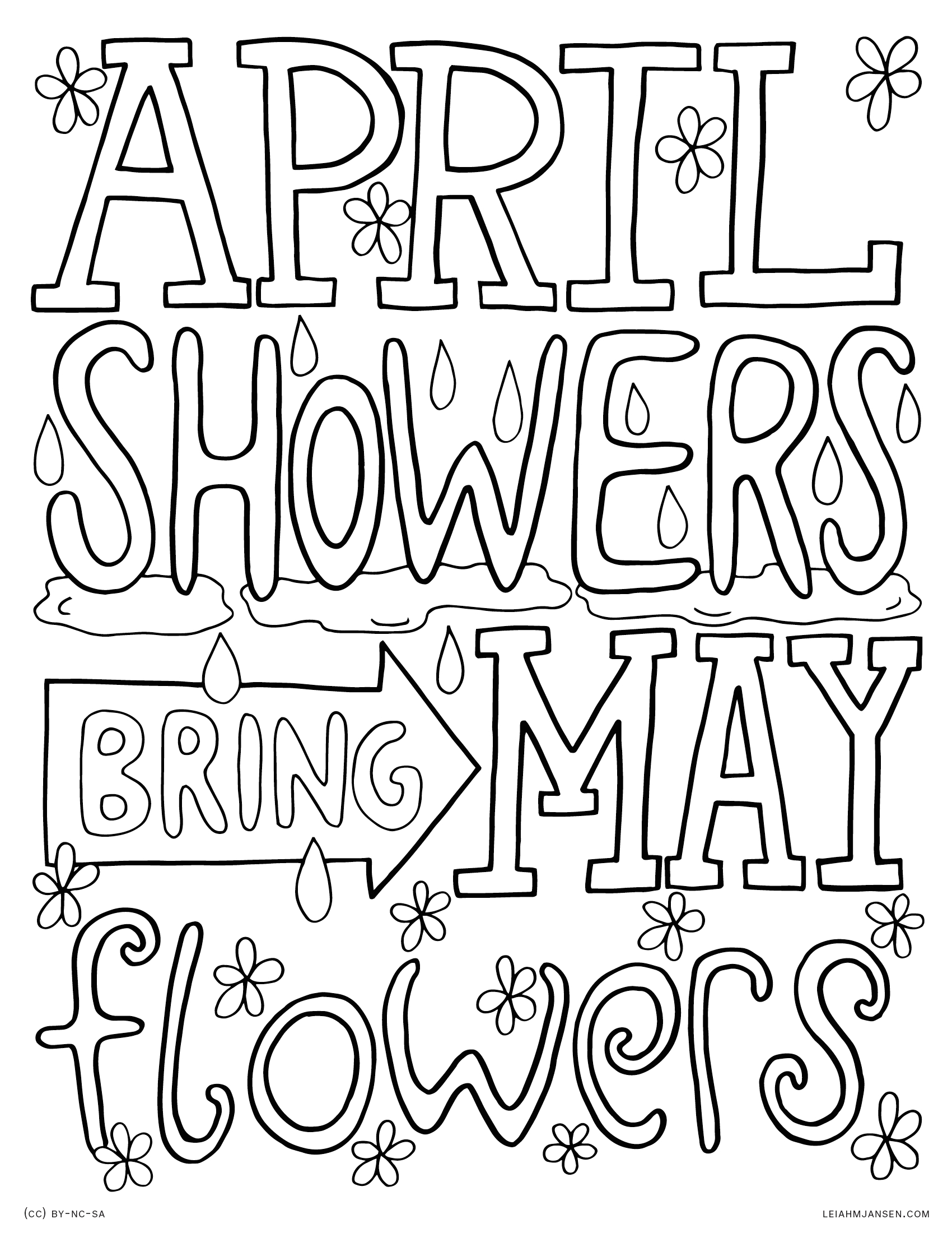April Showers Bring May Flowers Free Coloring Pages April Showers Bring May Flowers Coloring Page at