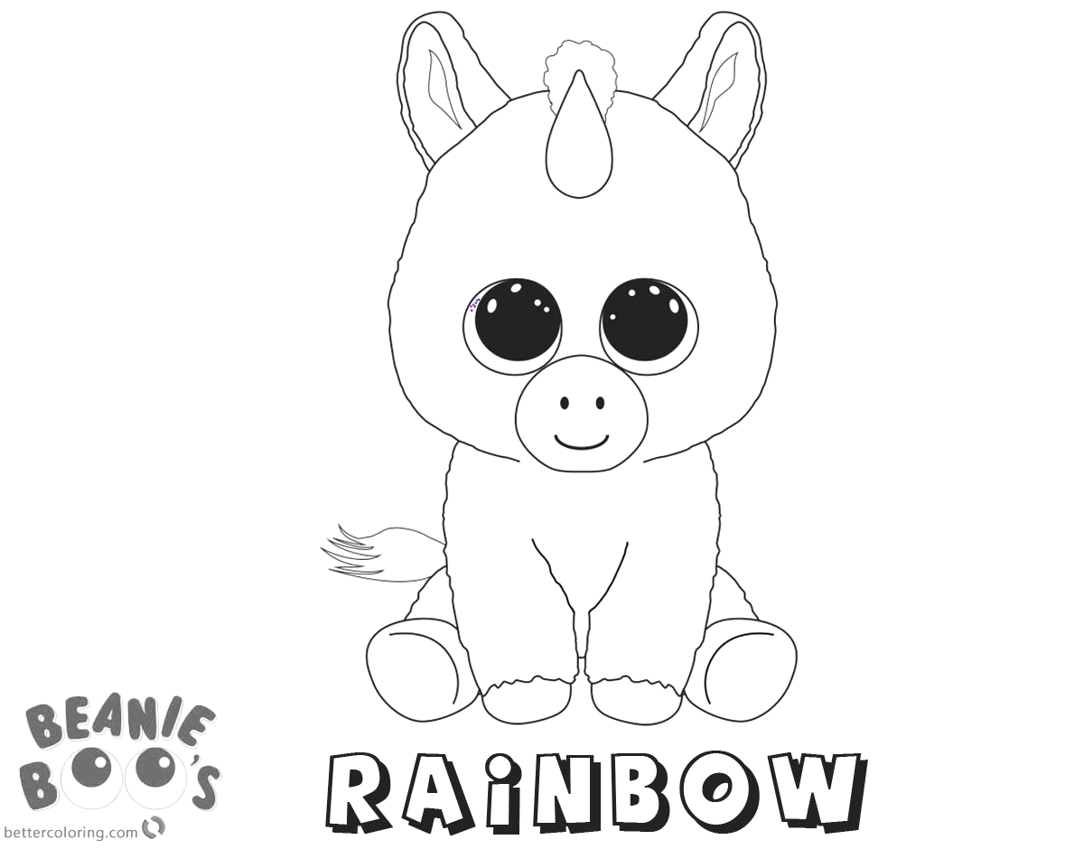 beanie boo coloring pages unicorn rainbow