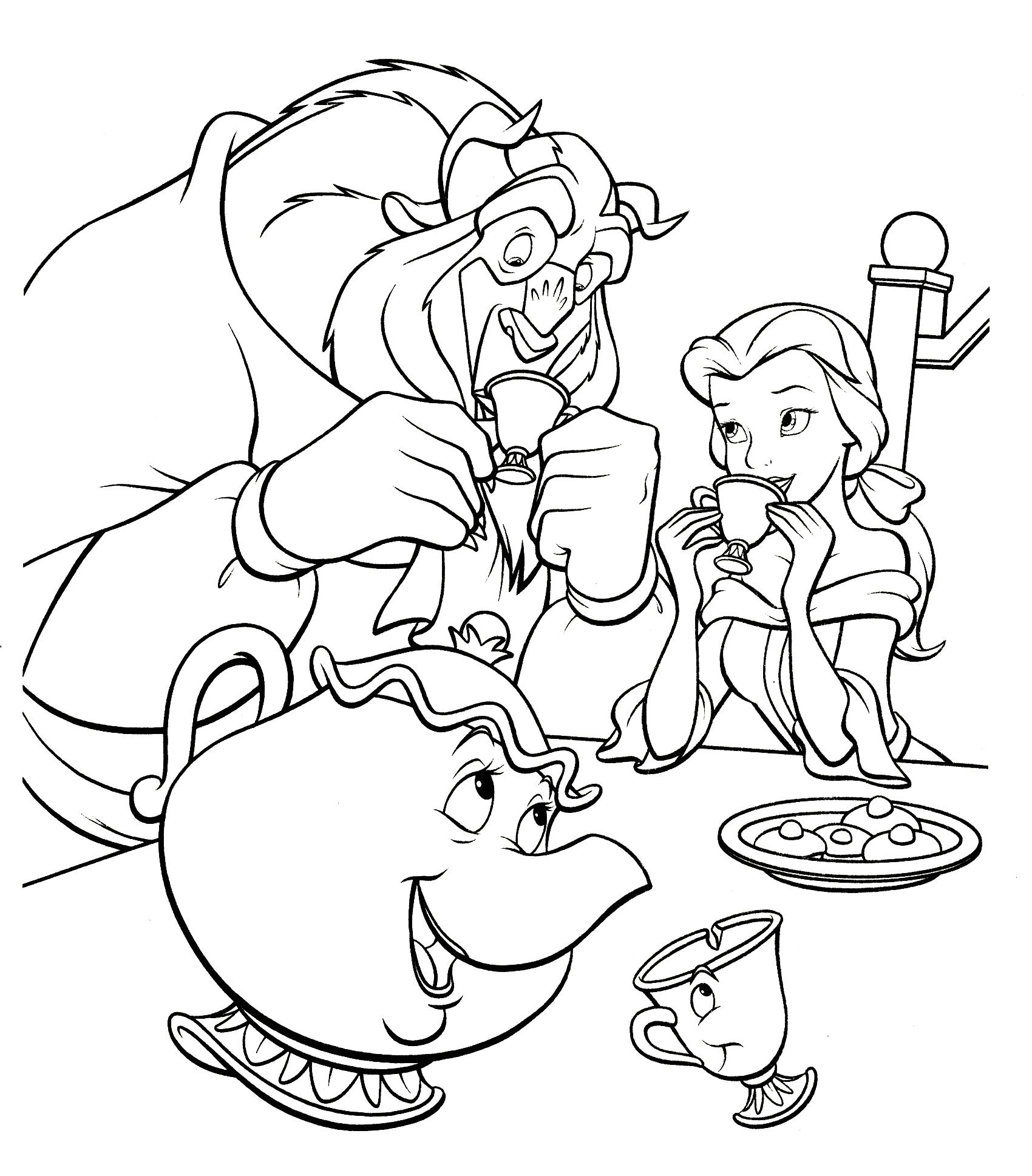 Beast From Beauty and the Beast Coloring Pages Beauty and the Beast Have Dinner Coloring Pages