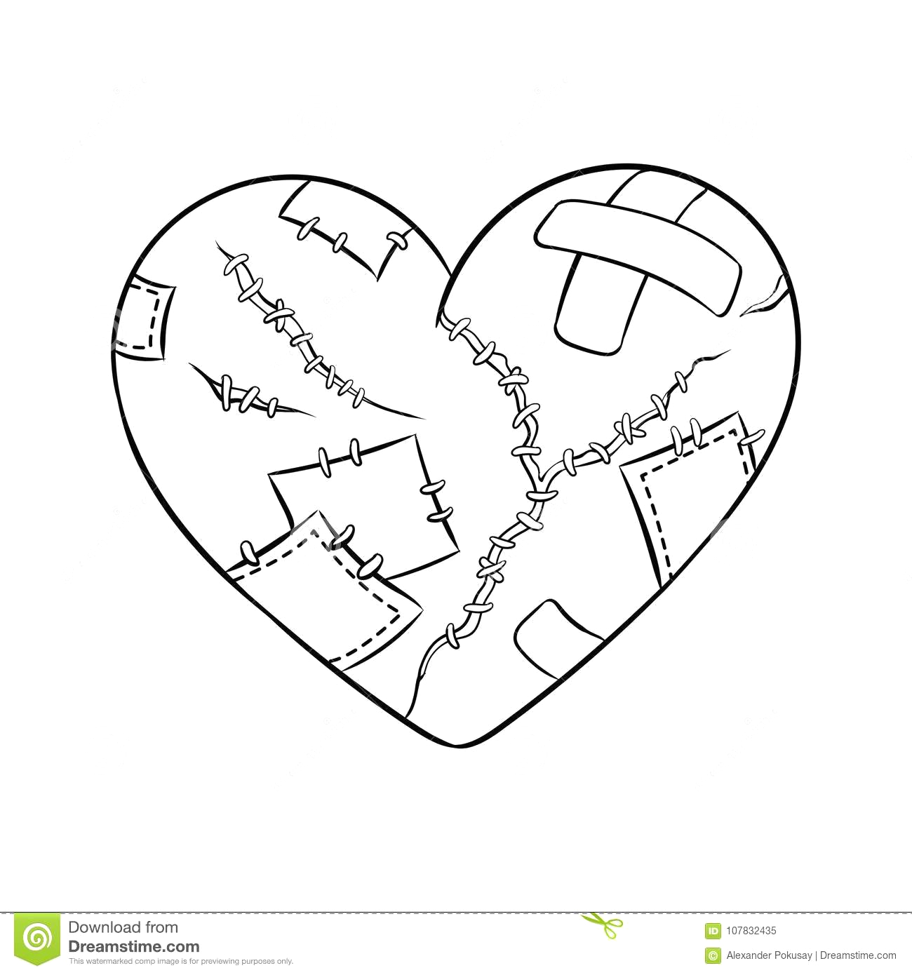 broken heart metaphor coloring vector illustration isolated image white background ic book style imitation broken heart image