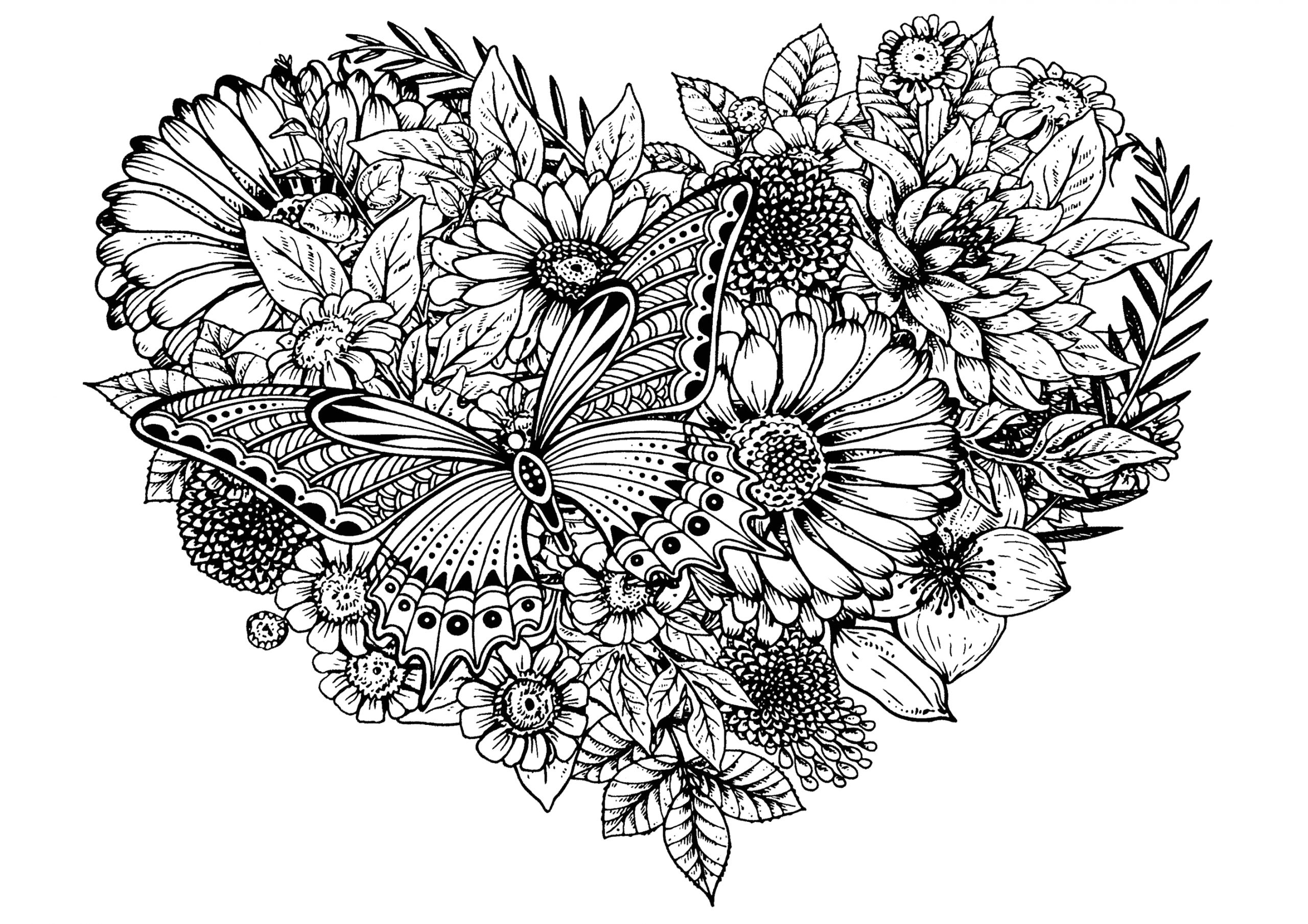 image=fleurs et ve ation coloring flowers and butterfly in a heart 1