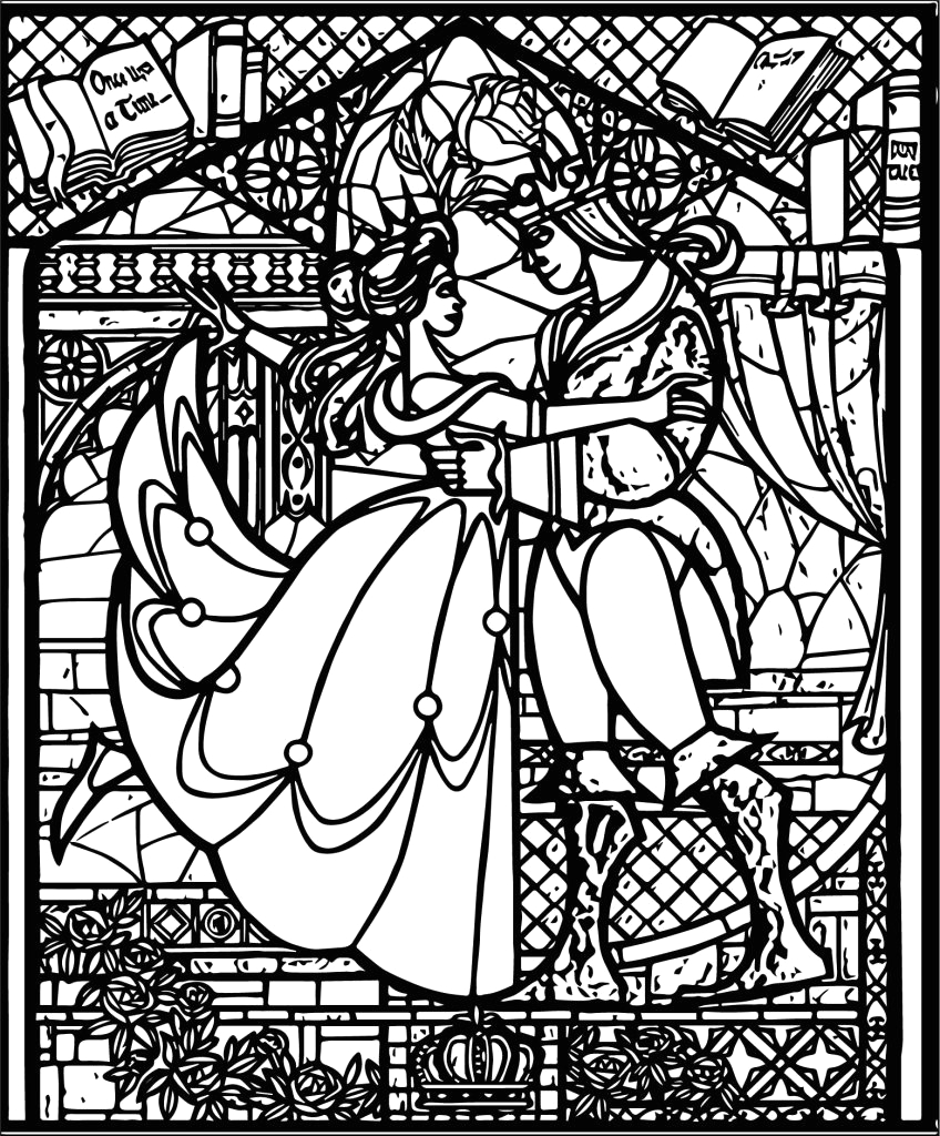 Coloring Page Beauty and the Beast Stained Glass Stained Glass Coloring Pages for Adults Best Coloring