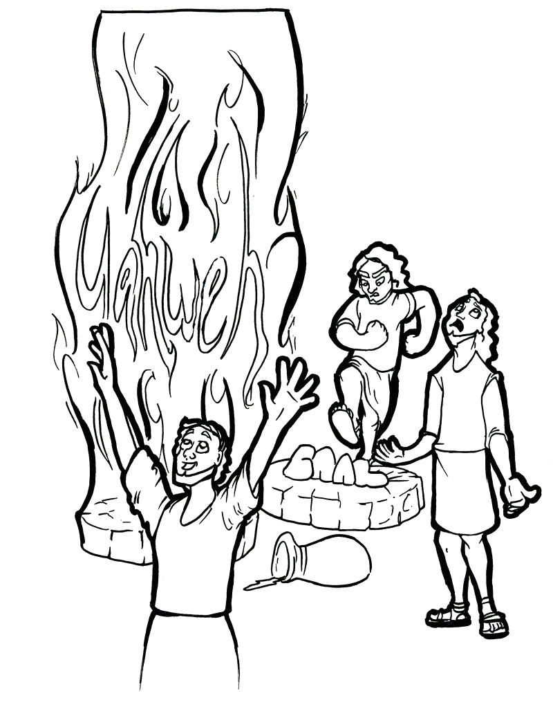 Coloring Page Elijah and the Prophets Of Baal Elijah and Prophets Of Baal Coloring Page