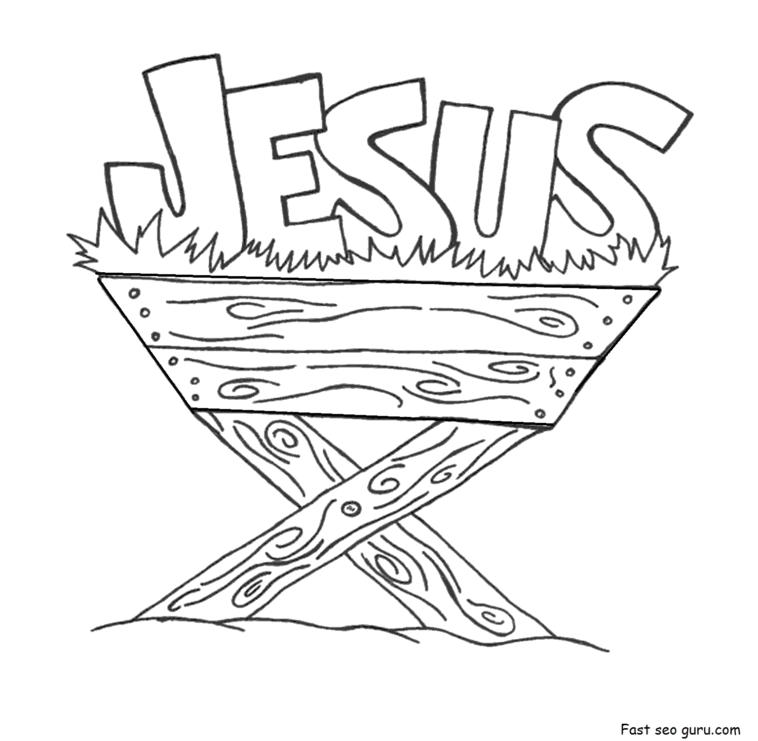 Coloring Page Of Jesus In the Manger Print Out Jesus In the Manger Coloring Pages