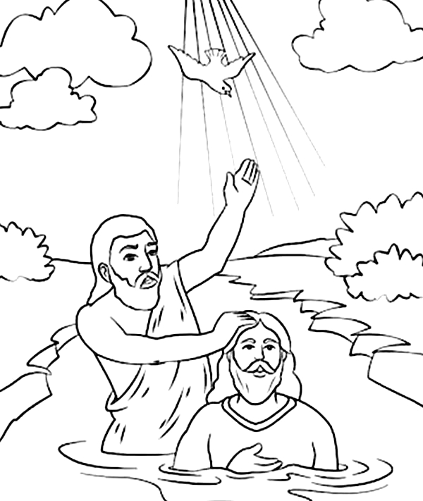 30 jesus baptism coloring pages