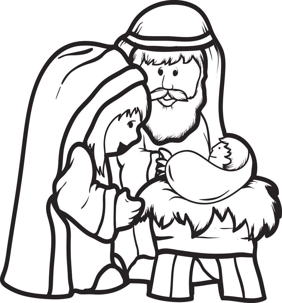 Coloring Page Of Mary Joseph and Baby Jesus Printable Mary Joseph & Baby Jesus Coloring Page for