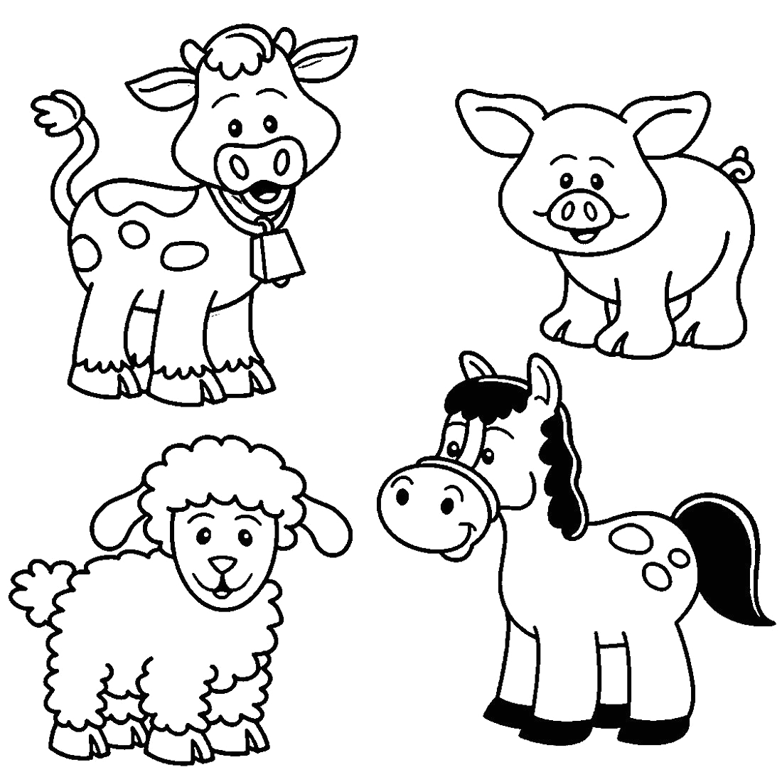 Coloring Pages Of Farm Animals for Preschoolers Printable Farm Animal Coloring for Kindergarten