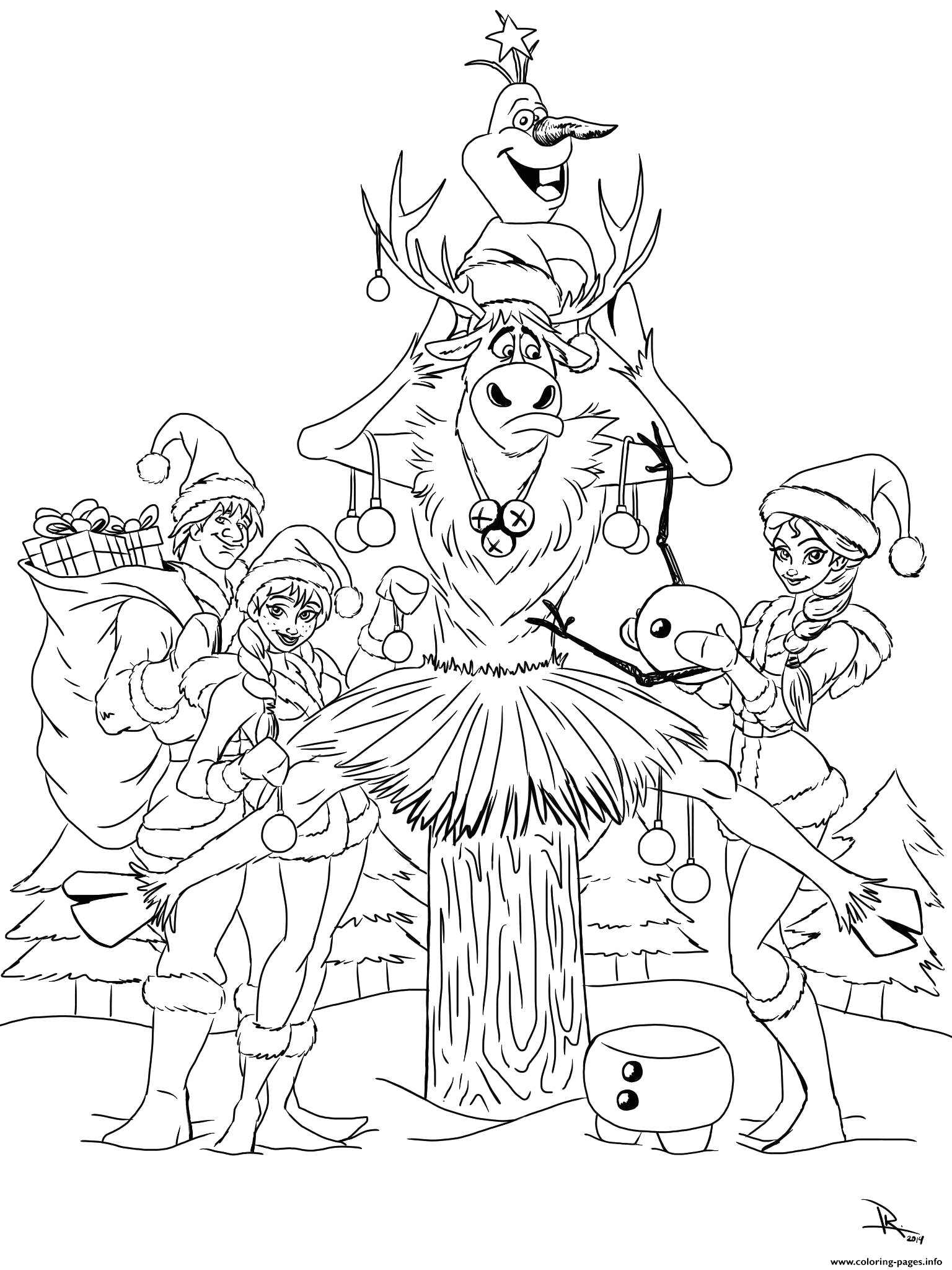 frozen christmas all characters printable coloring pages book