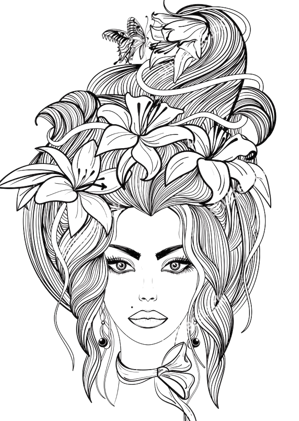Coloring Pages Of Girls with Long Hair 40 Cute Long Hair Realistic Girl Coloring Pages