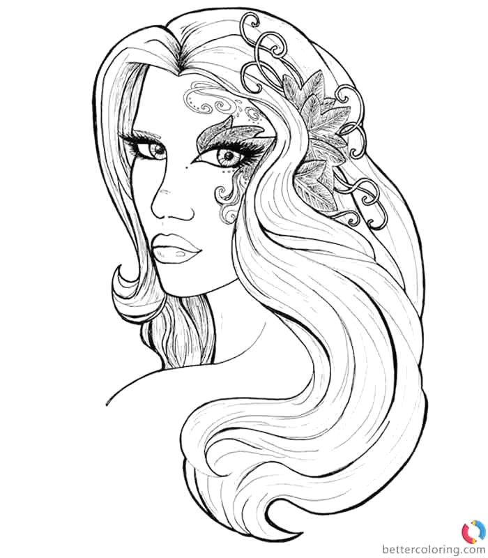 hipster coloring pages long hair girl