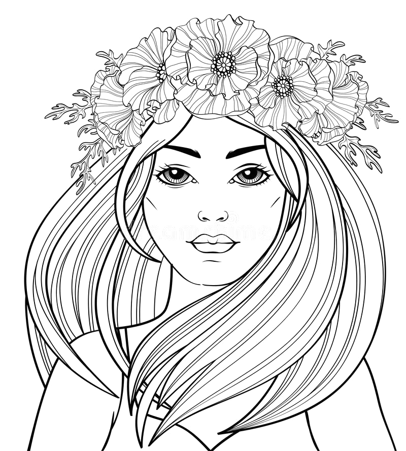 young beautiful girl long hair poppy wreath tattoo adult antistress coloring page black white hand drawn doodle f image