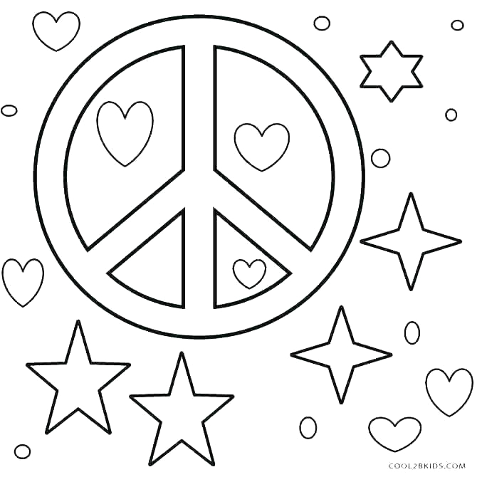 coloring pages of hearts and peace signs
