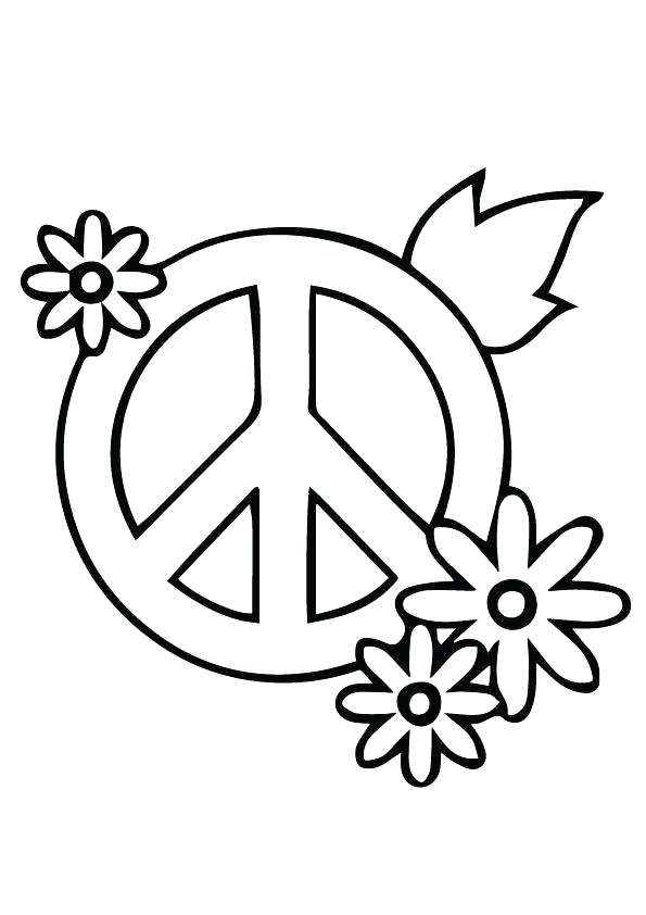heart peace sign coloring pages
