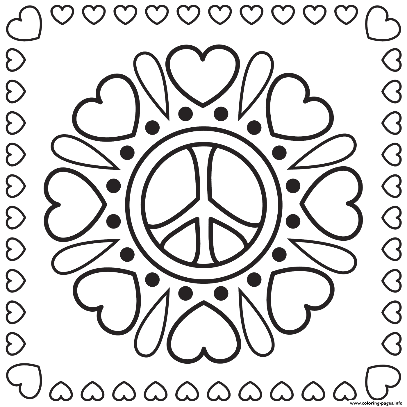 Coloring Pages Of Hearts and Peace Signs Hearts and Peace Signs Coloring Pages Printable