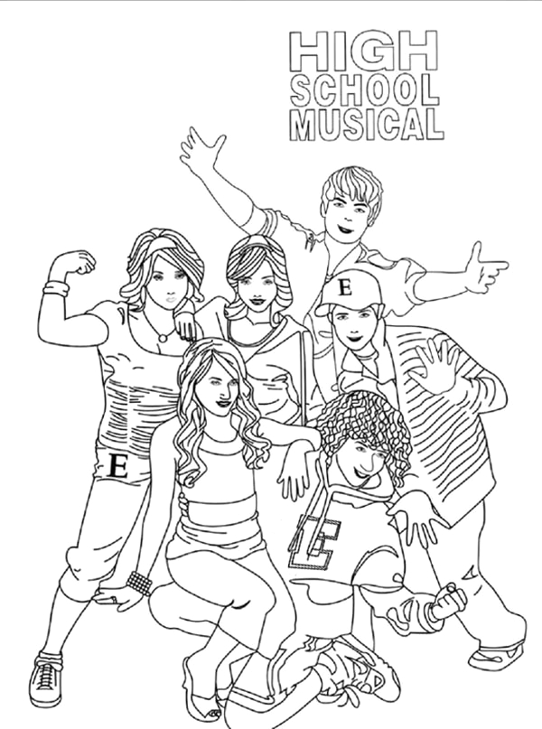 high school musical poster coloring page