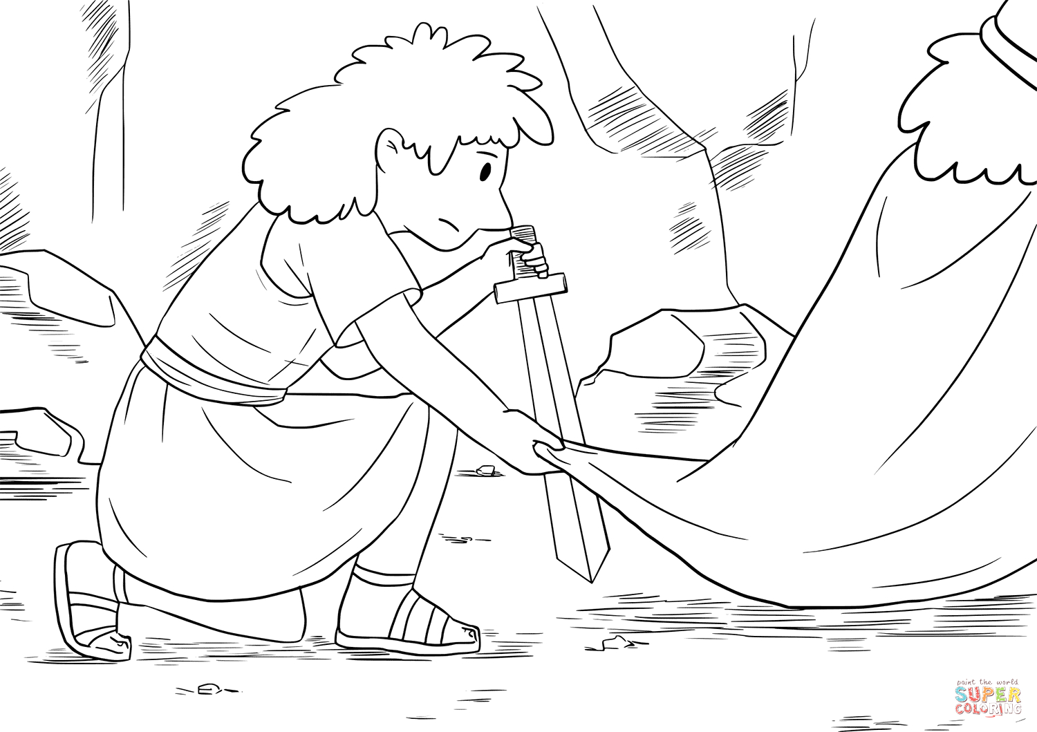 David and Saul In the Cave Coloring Page Pin On Da if Honoring God