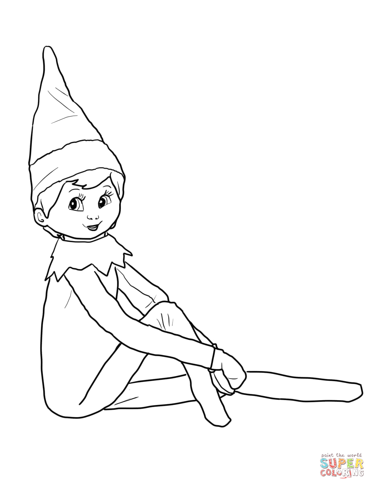 Elf On the Shelf Coloring Pages Girl Elf On the Shelf Coloring Page