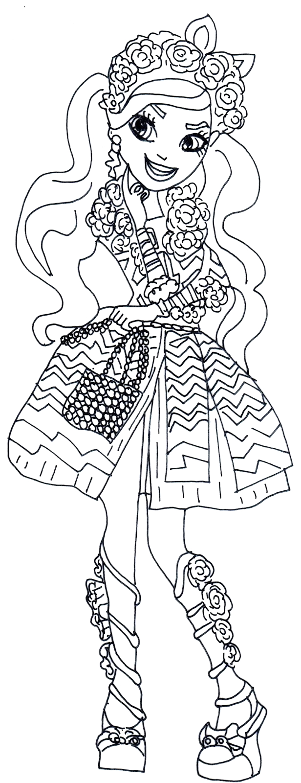 ever after high kitty cheshire coloring pages sketch templates