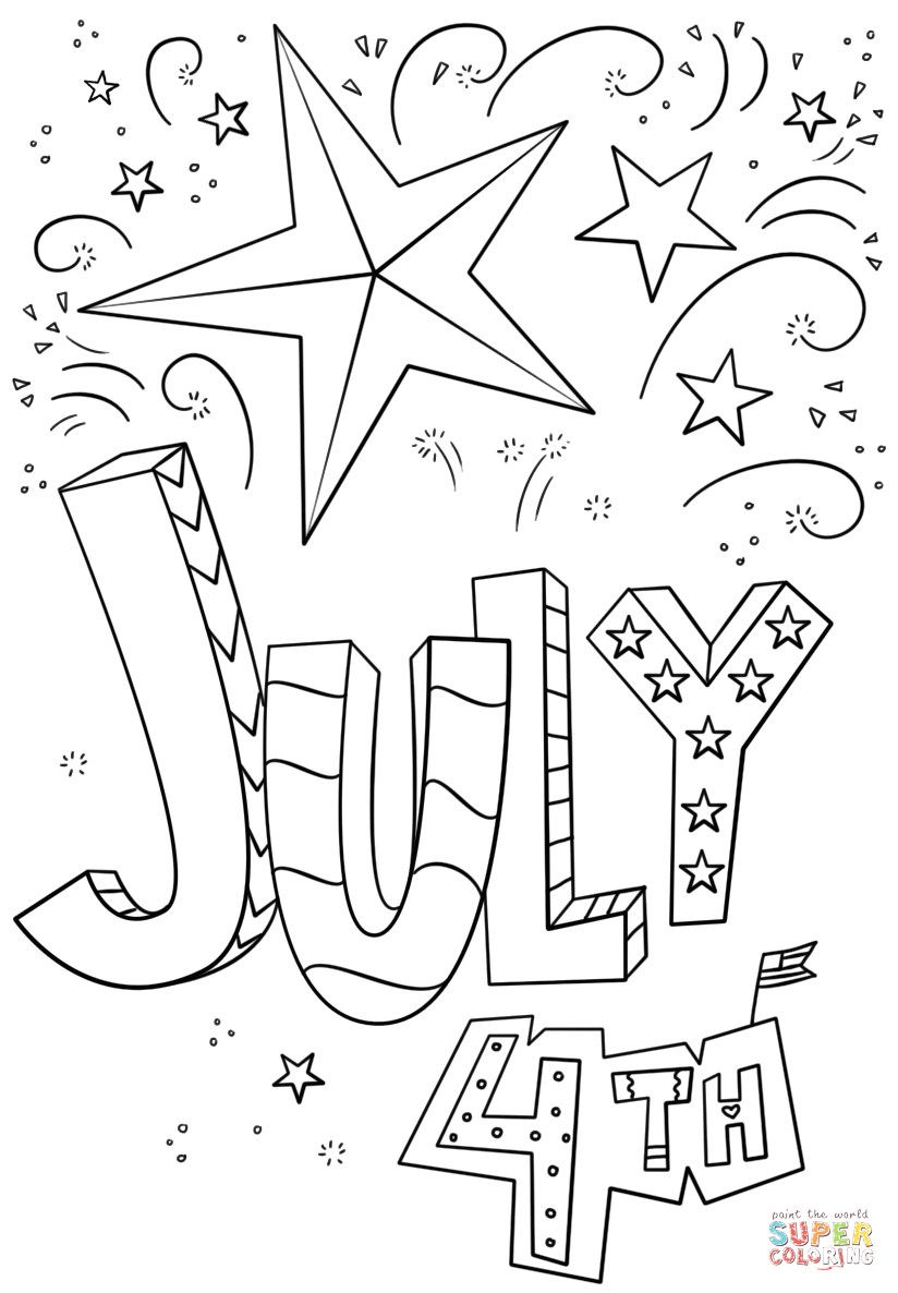 Free Coloring Pages for Kids 4th Of July 4th Of July Doodle Coloring Page