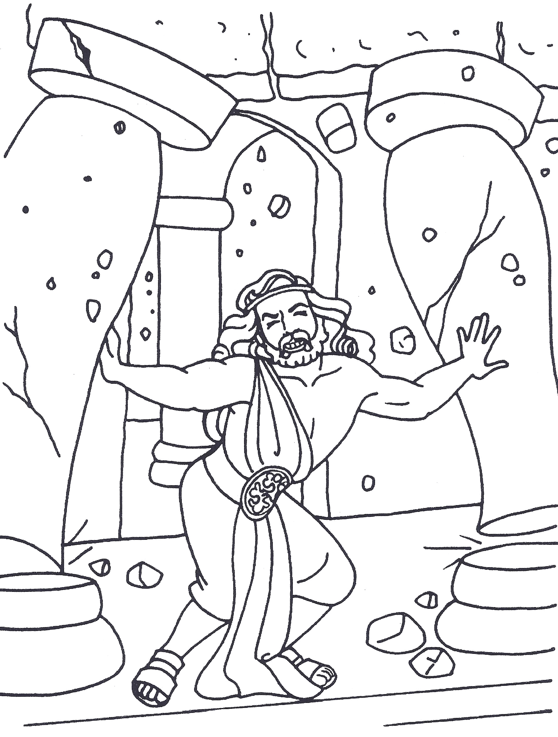 samson bible coloring pages