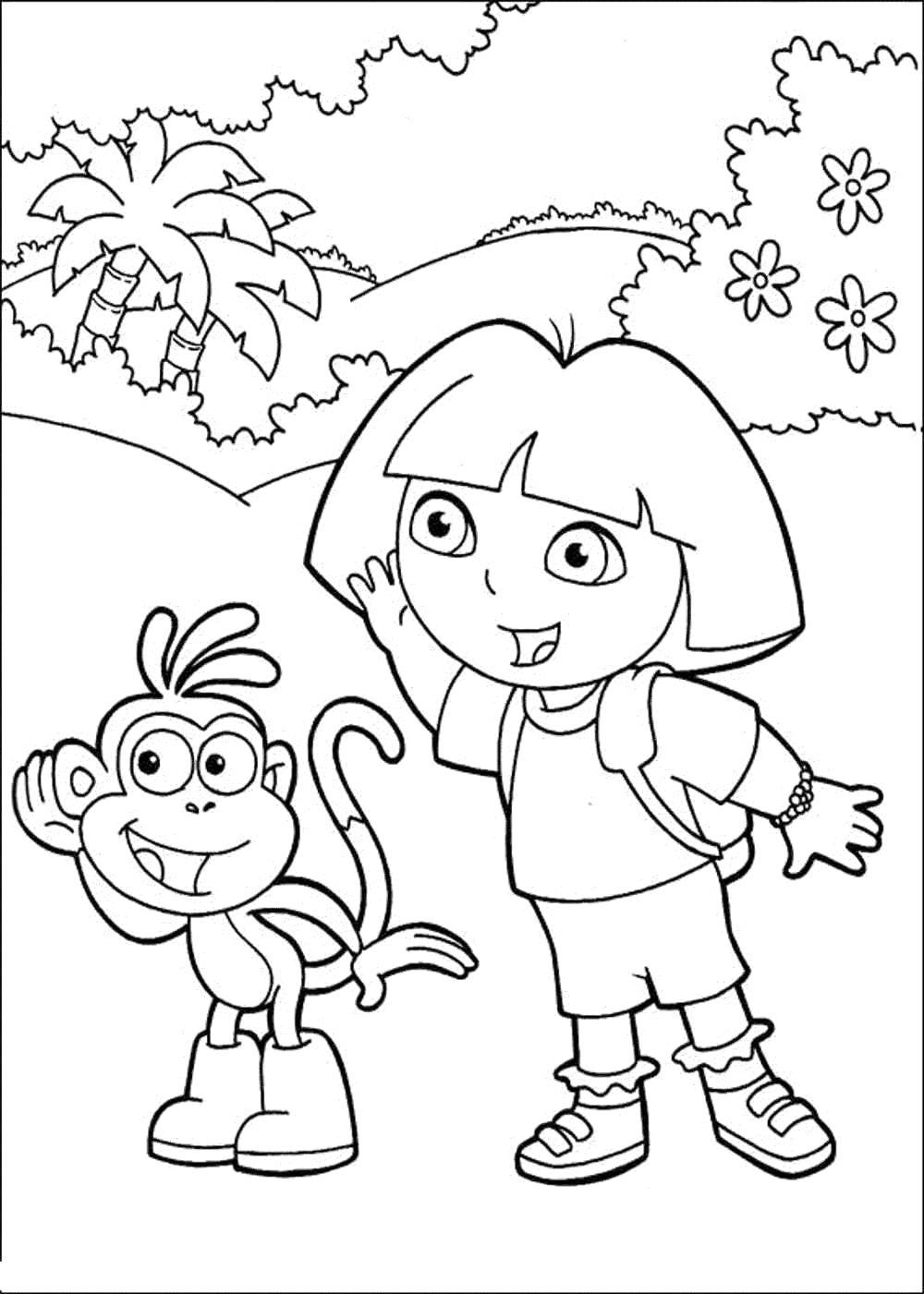 dora coloring pages learn new things