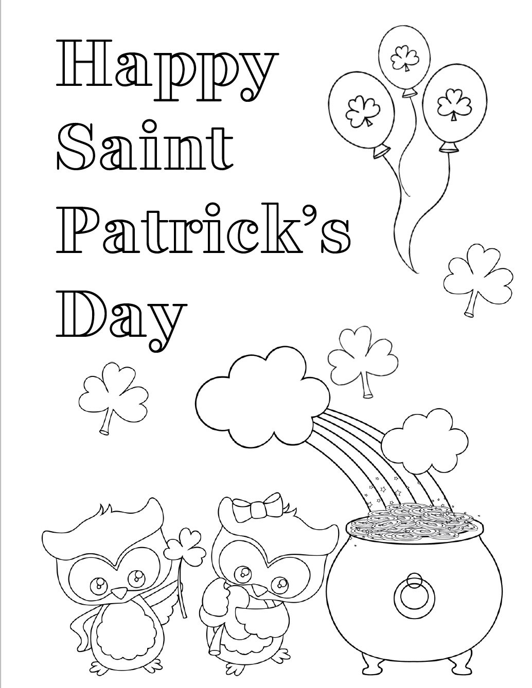 free printable st patricks day coloring pages