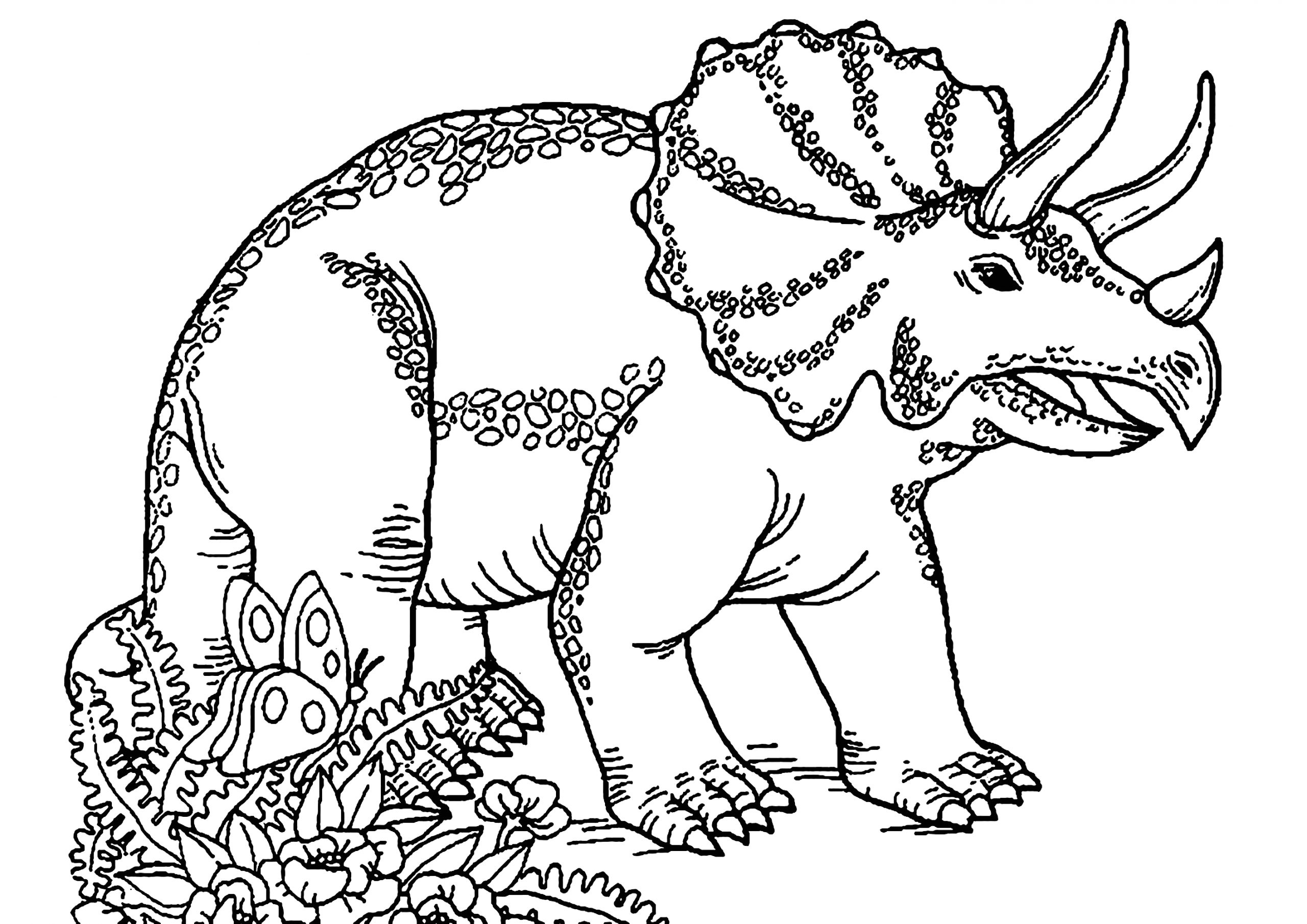 Free Printable Dinosaur Coloring Pages for toddlers Dinosaurs to Print Triceratops Dinosaurs Kids Coloring