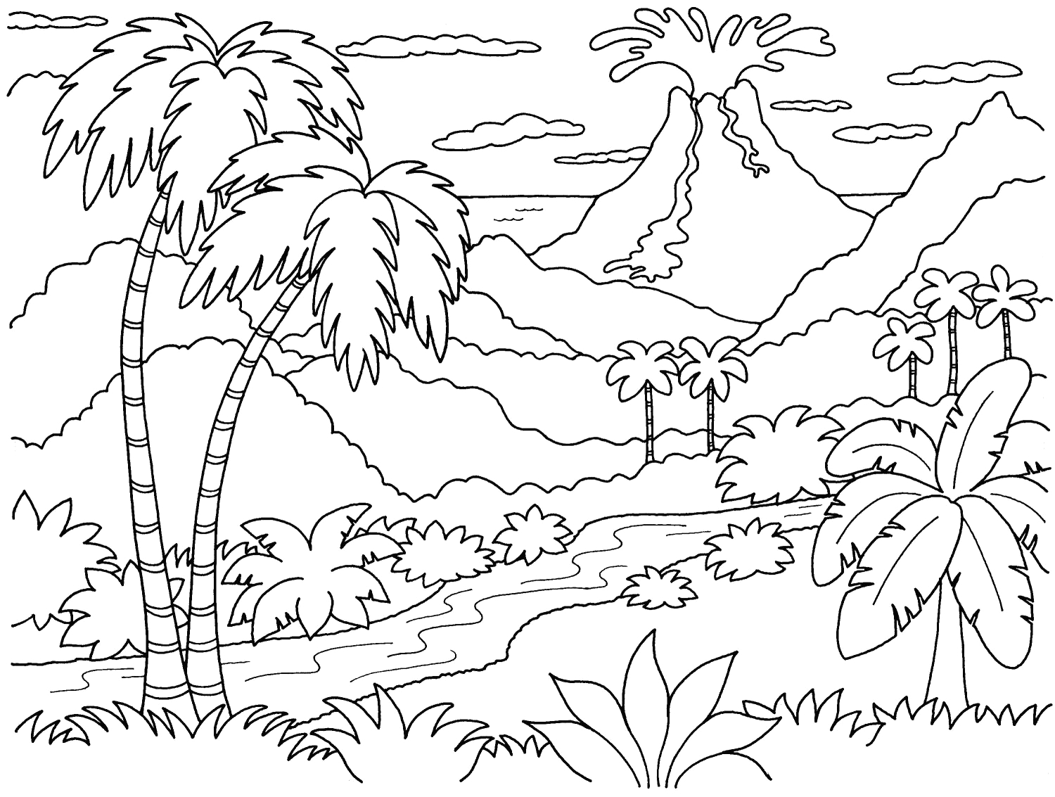 free printable landscape coloring pages for adults