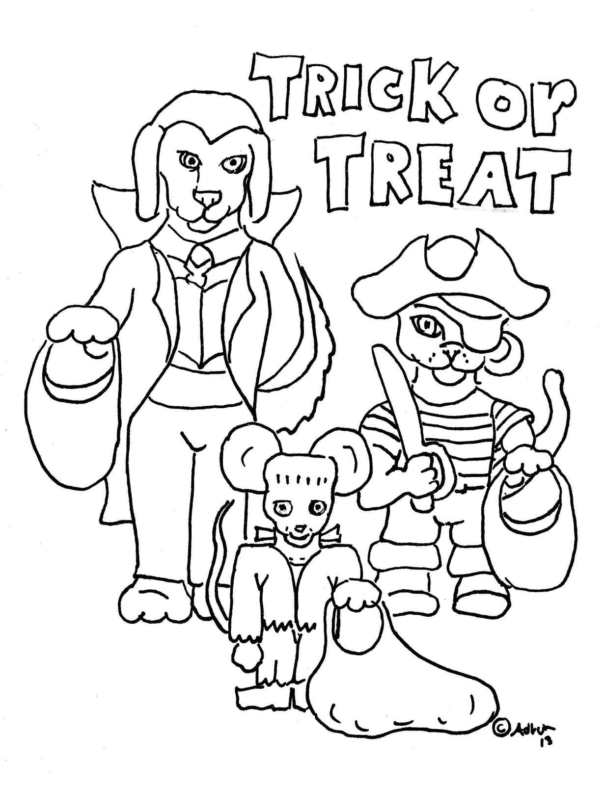 free trick or treat coloring page