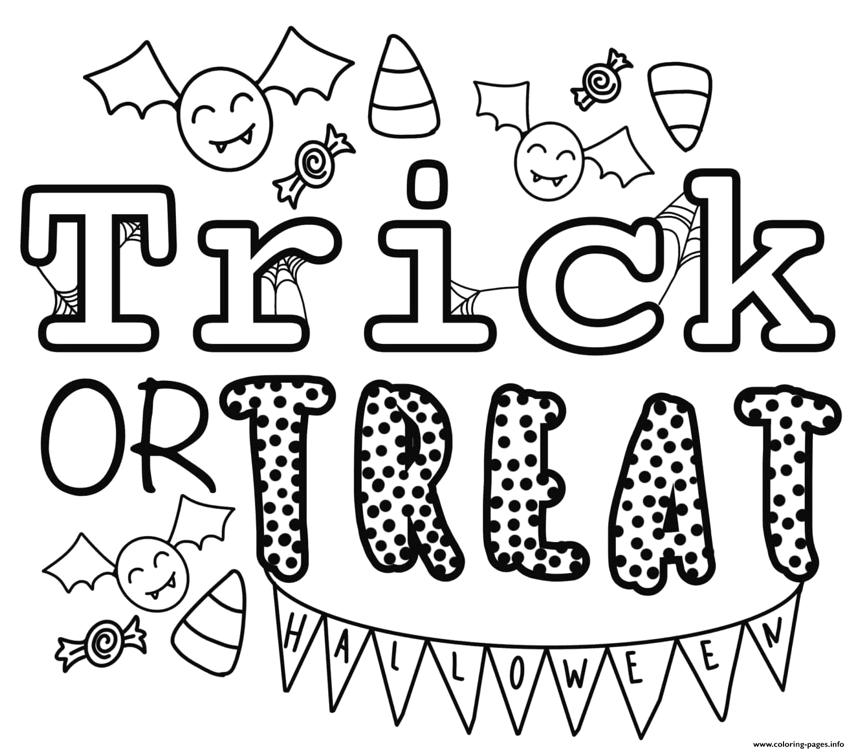 trick or treat halloween by heather hinson printable coloring pages book