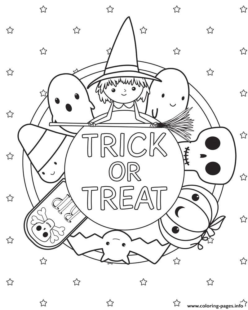 trick or treat halloween kids printable coloring pages book