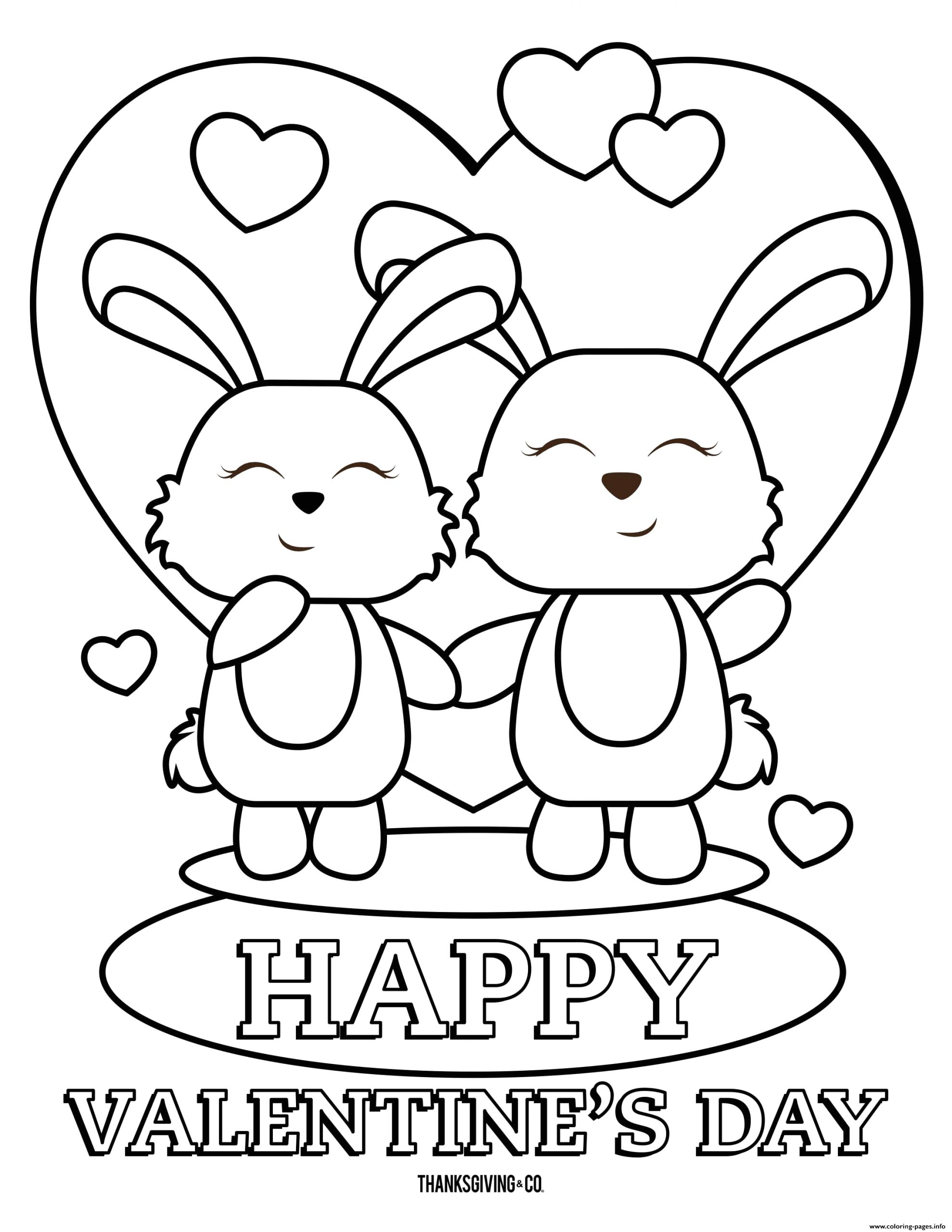 happy valentines day bunnies printable coloring pages book