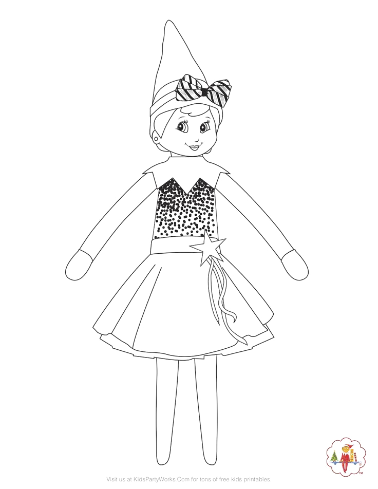 Girl Elf On the Shelf Coloring Pages Girl Elf On the Shelf Coloring Page She S Ready for the
