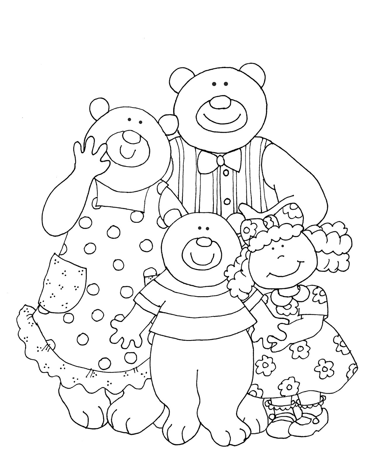 Goldilocks and the Three Bears Coloring Page Free Dearie Dolls Digi Stamps Goldilocks and the Three Bears