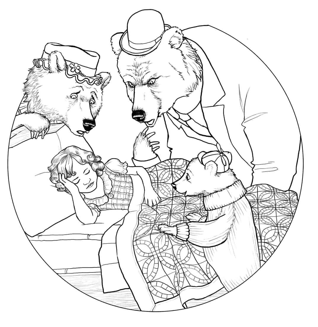 goldilocks and the three bears coloring page