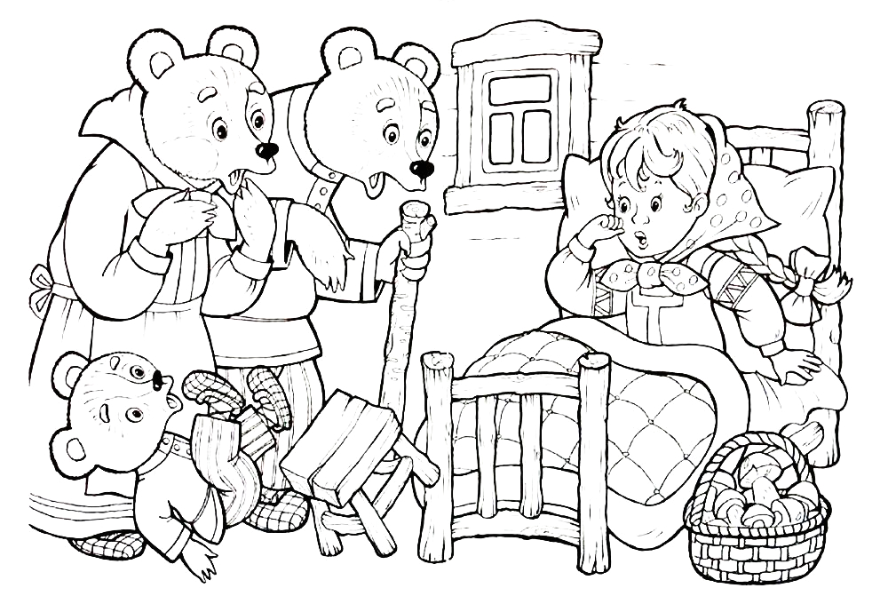 goldilocks and 3 bears coloring pages