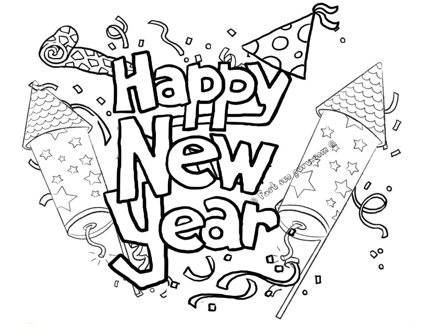 Happy New Year Coloring Pages to Print Happy New Year Coloring Pages to and Print for Free