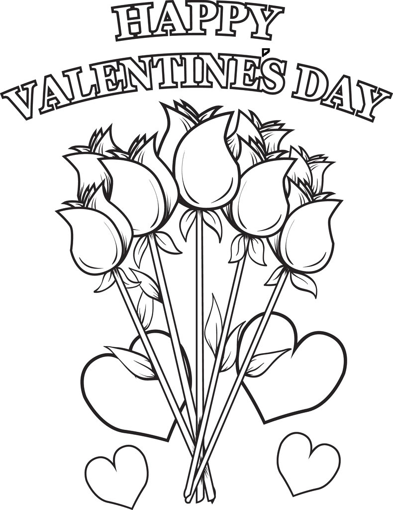 Happy Valentines Day Coloring Pages for Kids Printable Happy Valentine S Day Flowers Coloring Page for