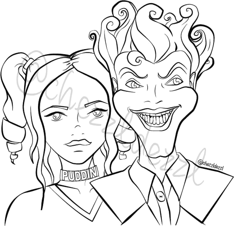 harley quinn and the joker coloring page