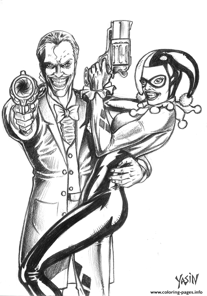 joker and harley quinn by yasinyayli harley quinn printable coloring pages book