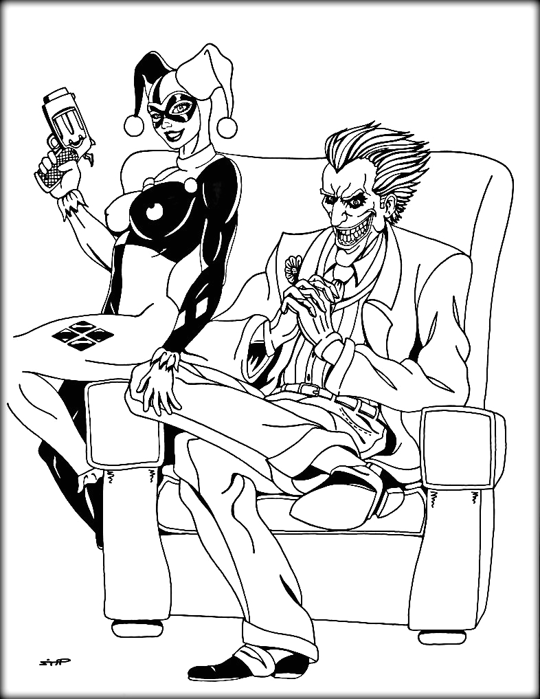 joker and harley quinn coloring pages