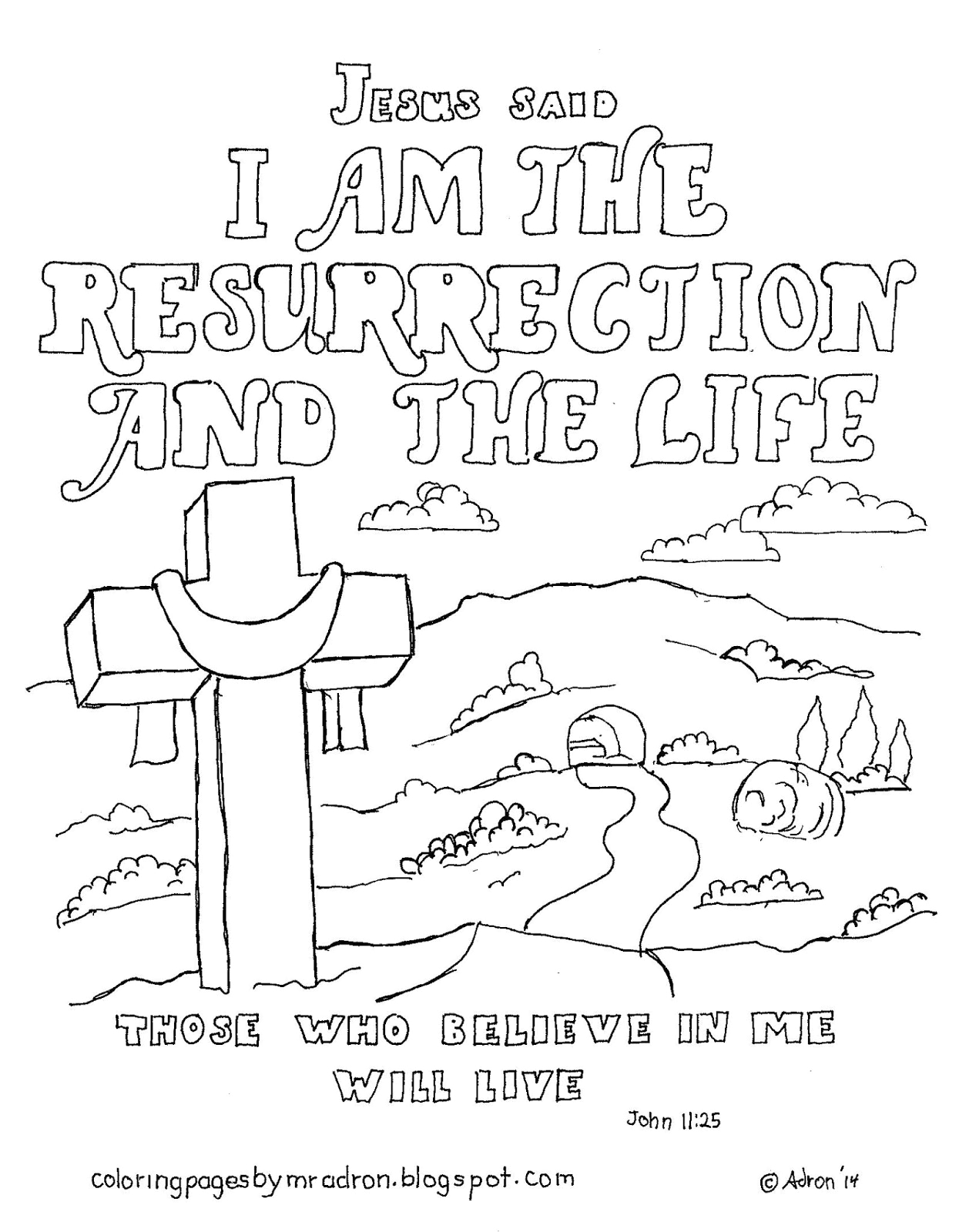 I Am the Resurrection and the Life Coloring Page Coloring Pages for Kids by Mr Adron I Am the