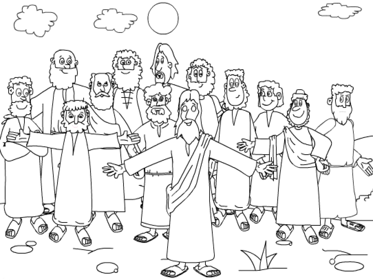Jesus and His 12 Disciples Coloring Page Twelve Disciples Coloring Page Coloring Home