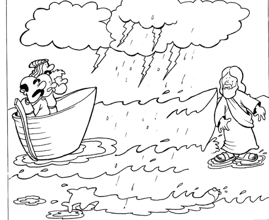 peter walks on water coloring page designs canvas jesus walks on water pictures to color