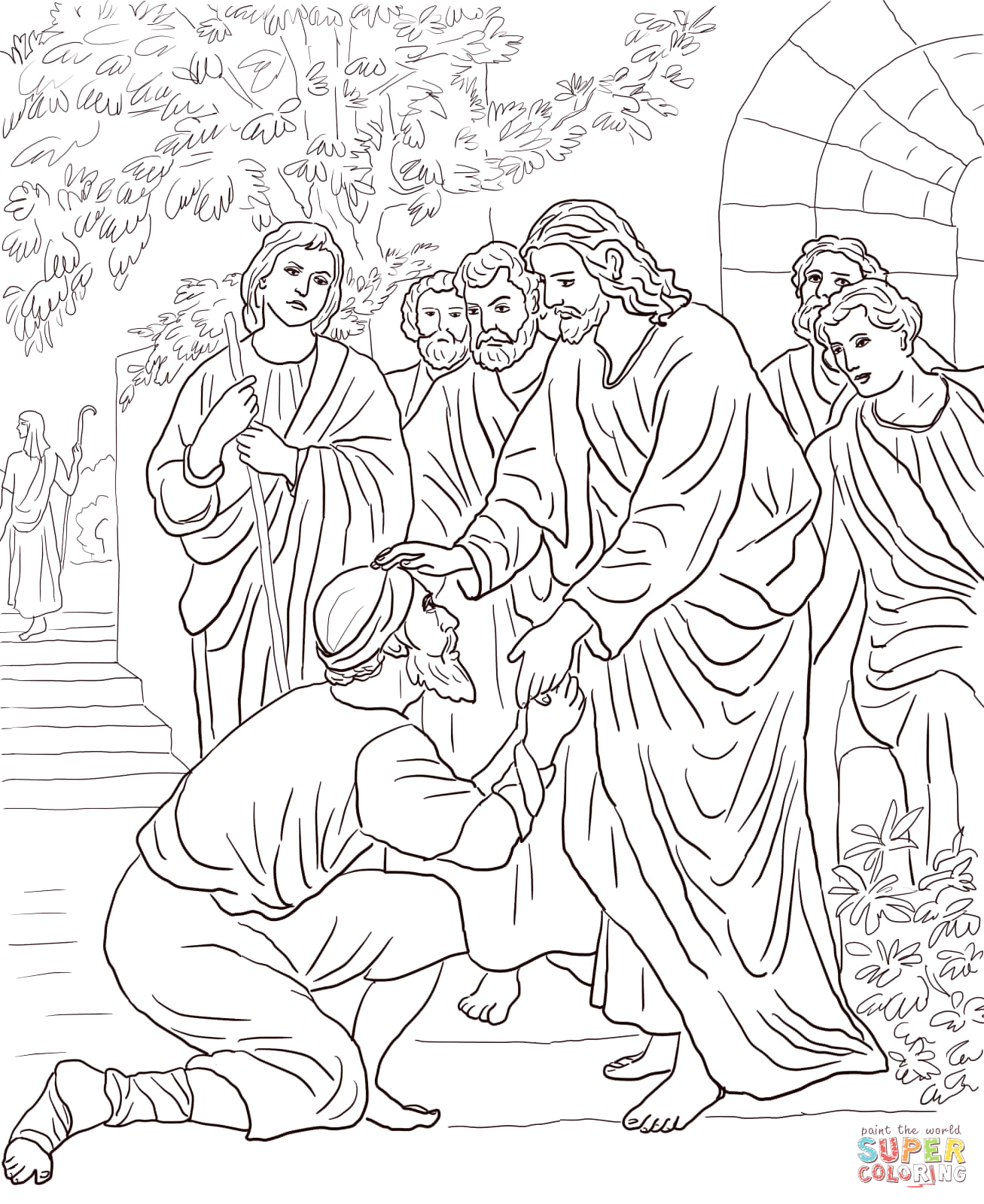 Jesus and the Blind Man Coloring Page Jesus Heals the Blind Man Coloring Page at Getdrawings